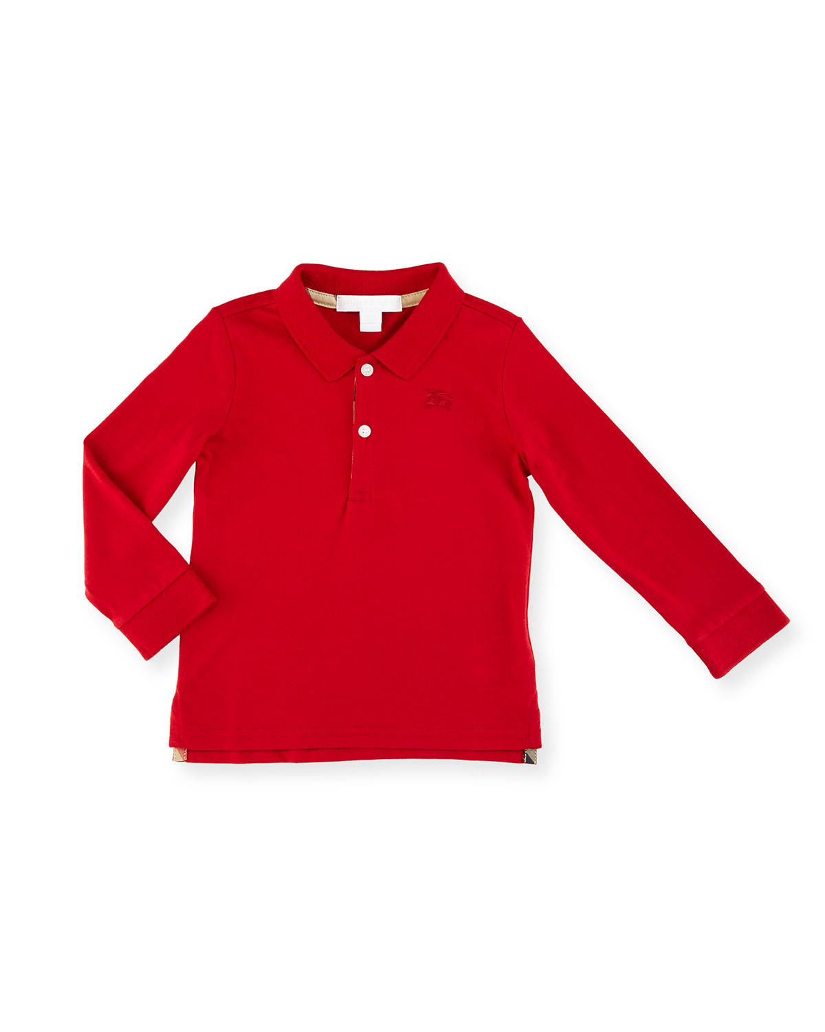 Palmer Long-Sleeve Pique Cotton Polo Shirt, Military Red, Size 6M-3Y