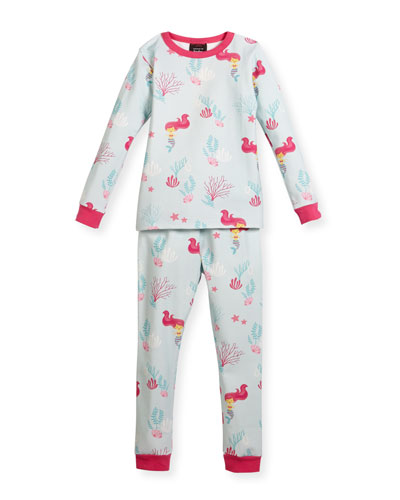Jersey Mermaid Pajama Set, Aqua/Fuchsia, Size 10-14