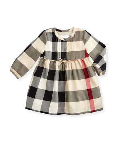 Emalie Long-Sleeve Pintucked Check Dress, New Classic, Size 6M-3Y