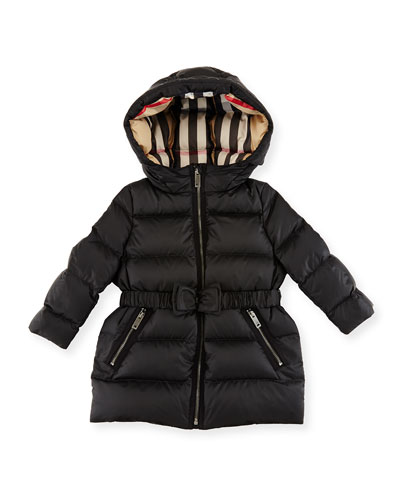 Consillia Belted Puffer Jacket, Black, Size 12M-3Y