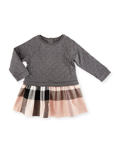 Orlia Long-Sleeve Quilted Combo Dress, Dark Gray Melange, Size 6M-3Y