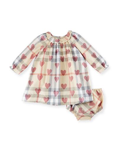 Amandine Long-Sleeve Heart & Check Shift Dress, Pale Pink, Size 3-24 Months ...