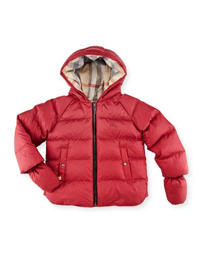 Rilla Hooded Raglan Puffer Jacket, Peony Rose, Size 6M-3Y