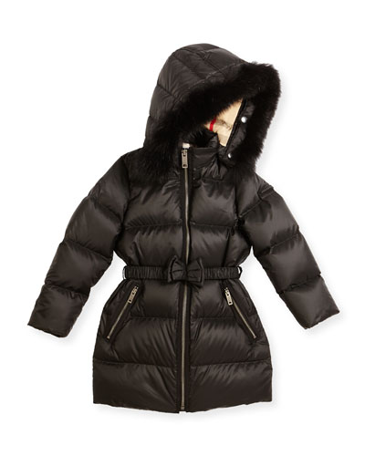Consillia Hooded Fur-Trim Puffer Jacket, Black, Size 4-14