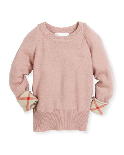 Georgey Cashmere Check-Cuff Pullover Sweater, Pale Ash Rose, Size 4-14