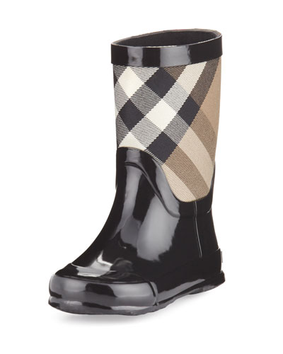 Rainmoor Check Rubber Rainboot, Black, Youth