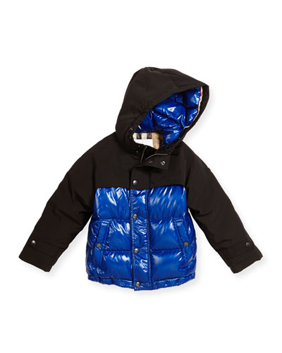 Howell Two-Tone Puffer Jacket, Bright Navy, Size 4-14