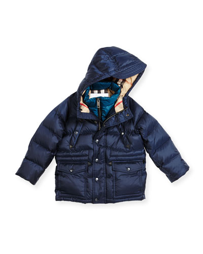 Peter Hooded Puffer Jacket, Navy, Size 4-14