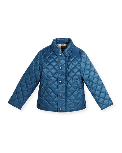 Luke Quilted Snap-Front Jacket, Bright Steel Blue, Size 4-14