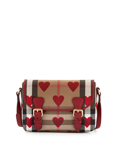 Girls' Check Hearts Mini Satchel Bag, Parade Red