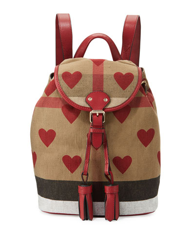 Girls' Check & Heart Backpack, Parade Red/Tan