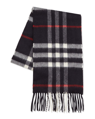Cashmere Exploded Check Scarf, Navy