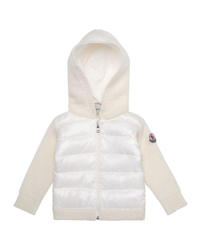 Hooded Puffer-Front Tricot Jacket, Size 6M-3