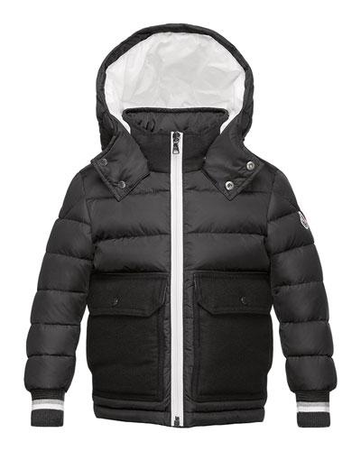 Rabelais Hooded Wool-Trim Puffer Coat, Gray, Size 8-14