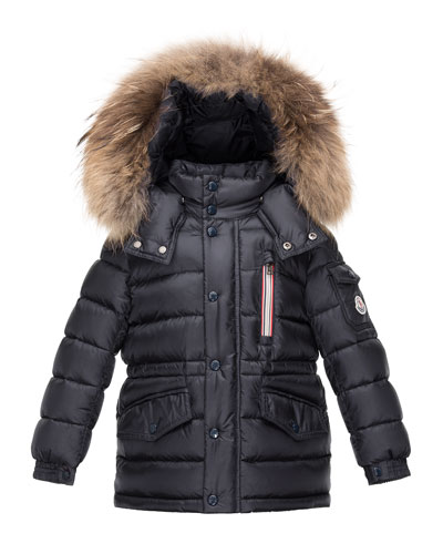 Boys' Lilian Hooded Puffer Coat, Navy, Size 8-14