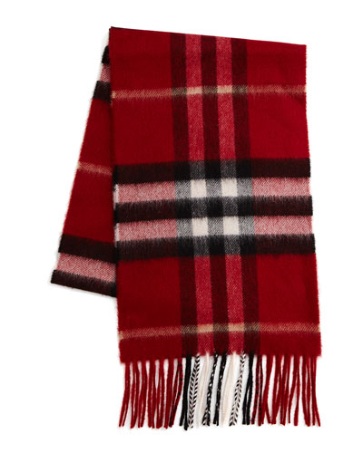 Cashmere Exploded Check Scarf, Parade Red