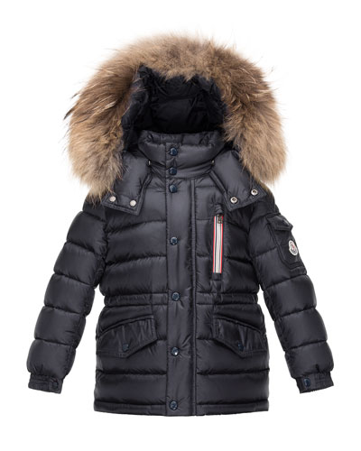 Boys' Lilian Hooded Puffer Coat, Navy, Size 4-6