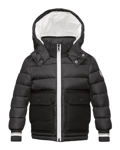 Rabelais Hooded Wool-Trim Puffer Coat, Gray, Size 4-6