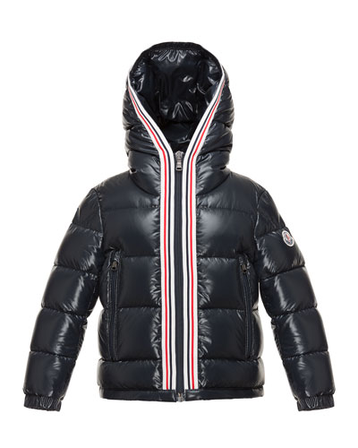 Maubic Hooded Striped-Trim Puffer Jacket, Navy, Size 4-6