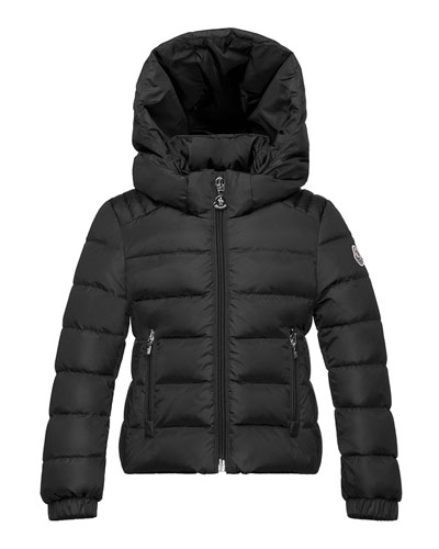 Oiron Hooded Fitted Puffer Jacket, Black, Size 4-6