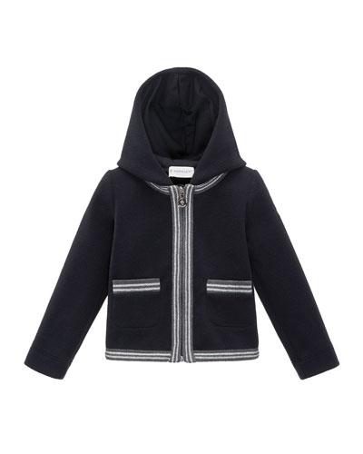 Hooded Fleece Metallic-Trim Jacket, Black, Size 4-6
