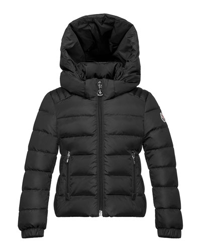 Oiron Hooded Fitted Puffer Jacket, Black, Size 8-14