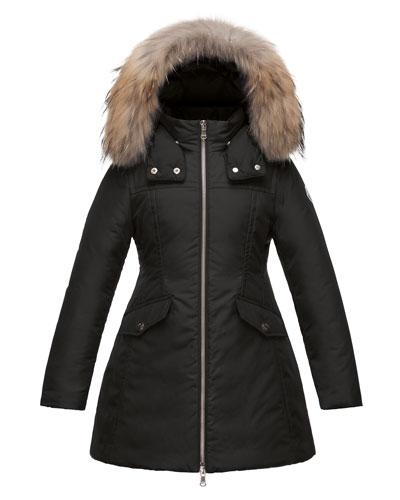 Obax Hooded Down Coat, Black, Size 8-14