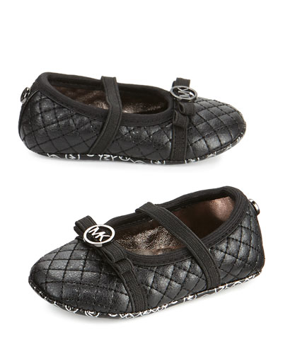 Lio Quilted Faux-Leather Ballet Flat, Black, Infant