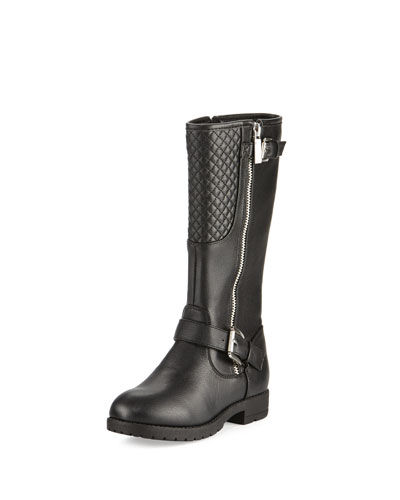 Dahlia Faux-Leather Moto Boot, Black, Youth
