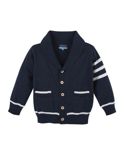 Cotton Varsity Sweater, Navy/White, Size 3-24 Months