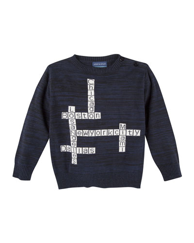 Crossword Puzzle Pullover Sweater, Blue, Size 2T-7Y