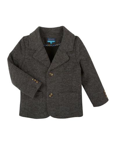 Thermal-Knit Cotton Blazer, Gray, Size 2T-7Y