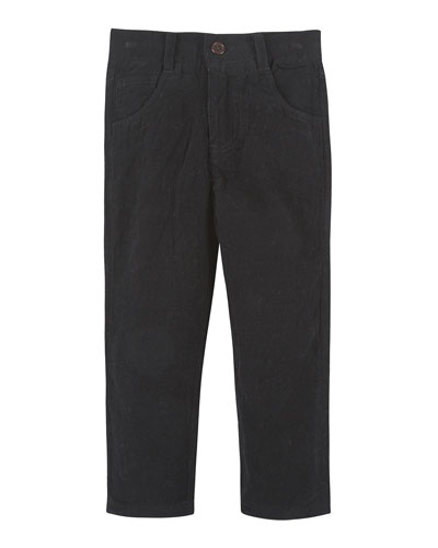 Straight-Leg Cotton Corduroy Pants, Black, Size 3-24 Months