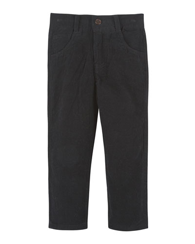 Straight-Leg Cotton Corduroy Pants, Black, Size 2-7