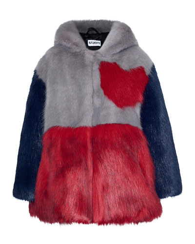 Hooded Colorblock Heart Faux-Fur Jacket, Gray/Red, Size 2-12
