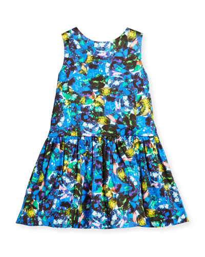 Sleeveless Abstract Smocked Dress, Size 4-7