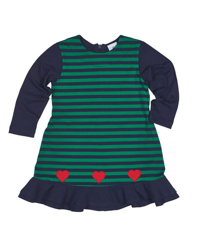 Knit Striped Dress with Hearts, Size 2-6