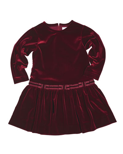 Stretch Velvet Dress w/Bows, Burgundy, Size 2-6