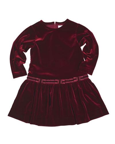 Stretch Velvet Dress w/Bows, Burgundy, Size 7-10