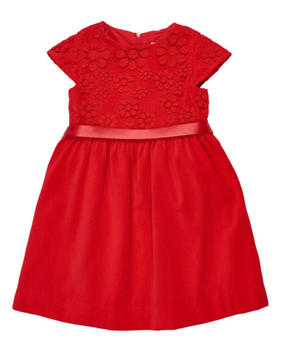 Twill Velvet Dress w/Lace Bodice, Red, Size 7-10