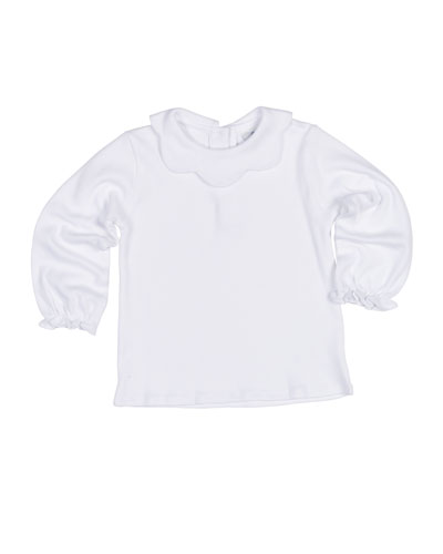 Scallop-Collar Knit Interlock Blouse, Size 2-3
