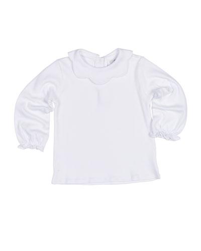 Scallop-Collar Knit Interlock Blouse, Size 4-6X