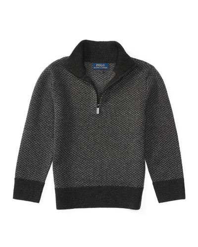 Herringbone Wool Half-Zip Sweater, Charcoal, Size 2-7