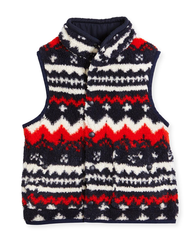 Printed Fleece Vest, Orange/Blue, Size 2-4