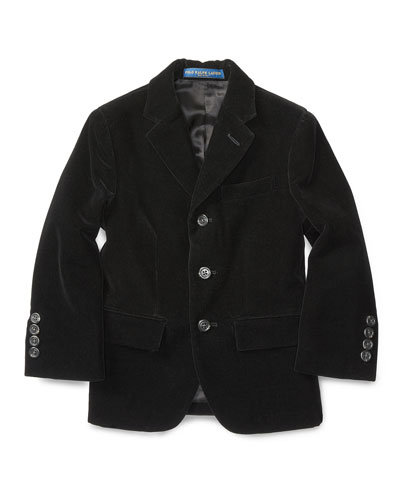 Velvet Polo Jacket, Black, Size 2-7