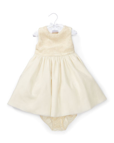 Sleeveless Embroidered Velour Tulle Dress w/ Bloomers, Cream, Size 9-24 Months