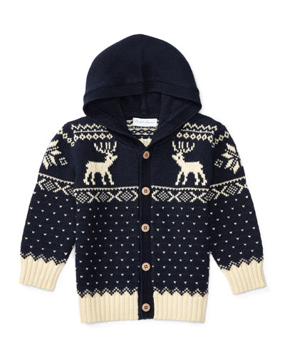 Hooded Fair Isle Cardigan, Navy, Size 9-24 Months