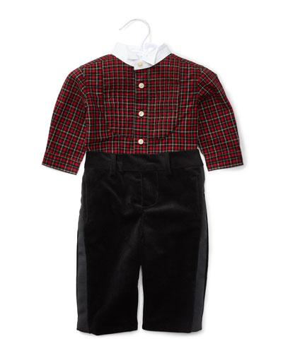 Plaid Tuxedo Shirt w/ Velour Pants, Red/Black, Size 9-24 Months