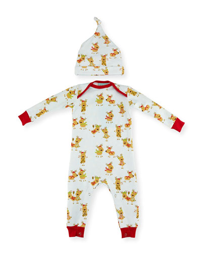 Jersey Reindeer Coverall w/ Hat, White, Size 3-24 Months