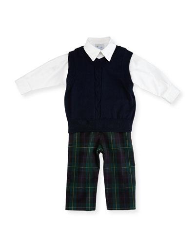 Sweater Vest, Shirt & Plaid Pants Set, Navy/Green, Size 12-24 Months